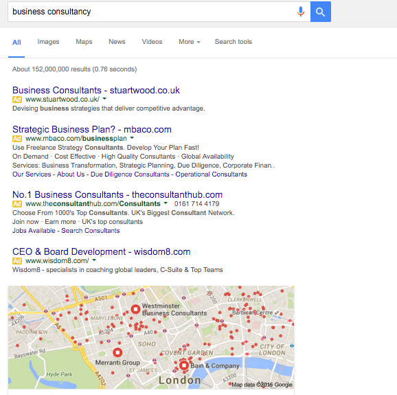 An example of the Google Search Page Result